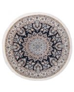 Persian Nain circular rug with silk highlights - Navy