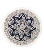 Floral Persian Nain circular rug with silk highlights