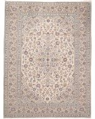 Persian Kashan Keshan rug - Beige With Light Blue Floral Design - front view