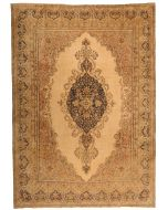 Persian Kerman Vintage Rug - Beige & Brown / Dark Grey Medallion - front view