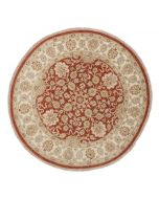 Garous Ziegler design circural rug beige & red - front view