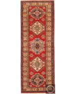 Caucasian Kazak design runner rug - Beige / Red & Mixed Colours - front view