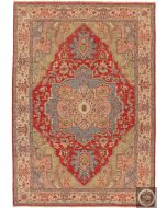 Indian Serapi Design Rug - Red / Biege - front