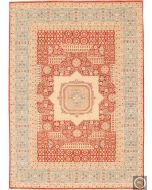 Fine Garous Ziegler Mamluk Design Rug Red & Light Blue Border - front view