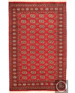 Red Bokhara Design Rug - Red / Cream Beige Design / Medium Size - Corner - front view