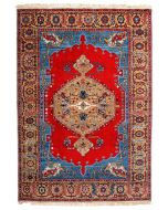 Indian Serapi Design Rug - Bright Red / Blue / Biege - front view