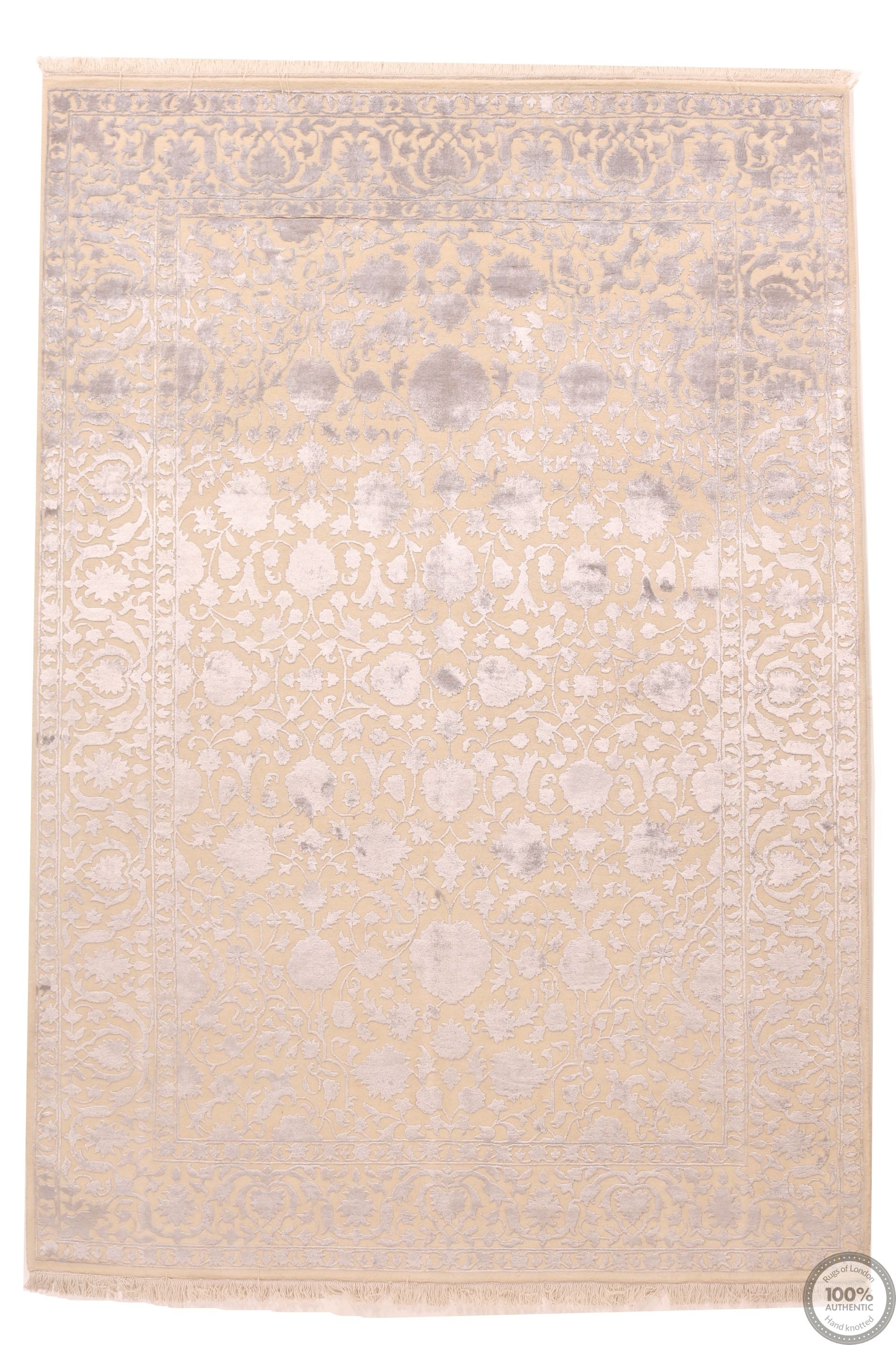 Keshan design contemporary Indian rug beige and light silver