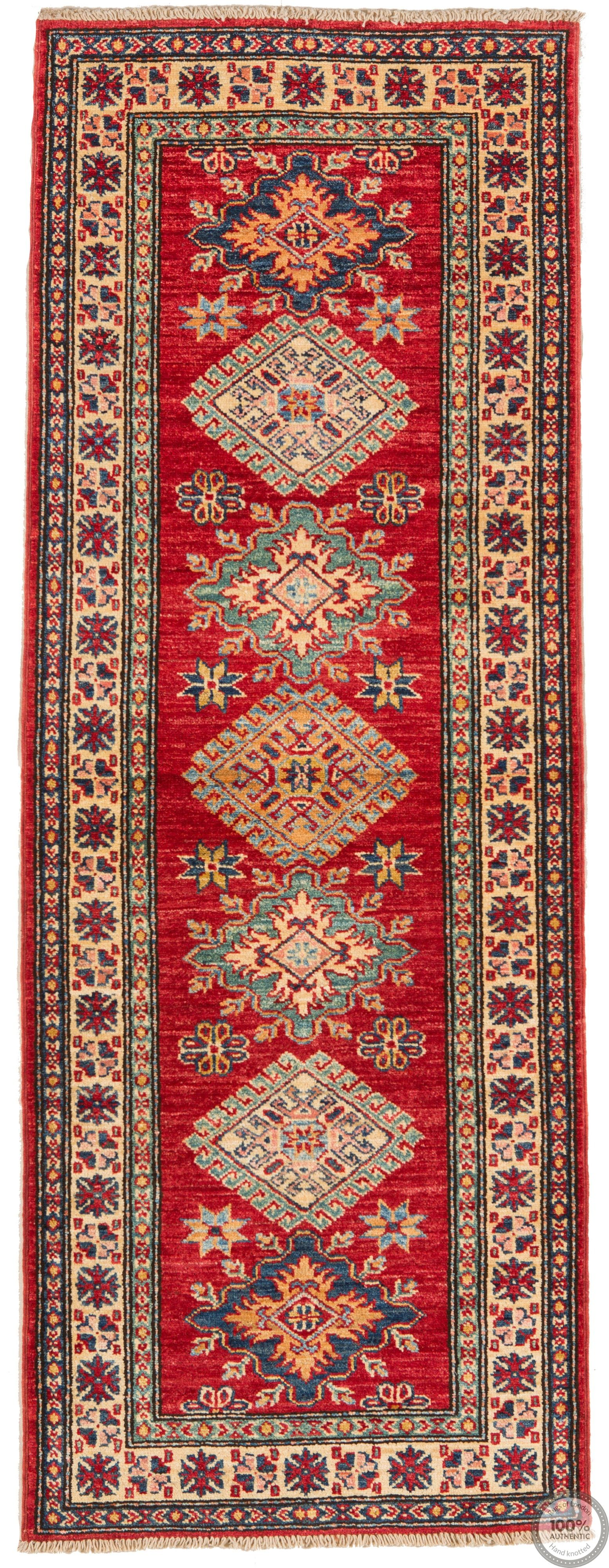 Red Caucasian / Kazak Design Runner Rug - 5'77 x 2'1