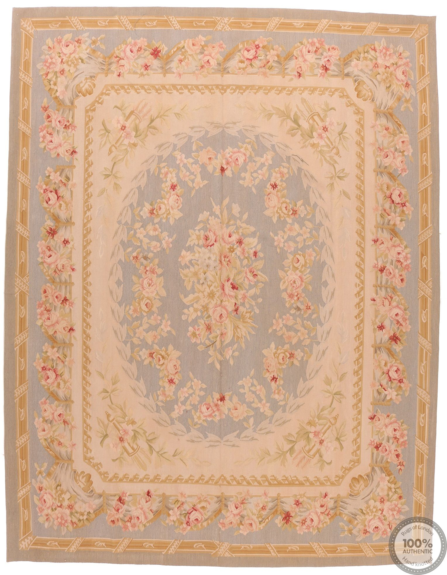 Aubusson Rug Floral - light blue Design 105
