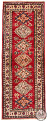 Red Caucasian / Kazak Design Runner Rug - 5'77 x 2'1