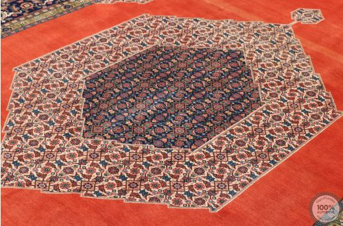 Persian Heriz rug - Blue/Orange Medallion Pure Wool